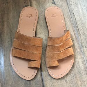 Marc Fisher Brown leather slide sandals 7.5